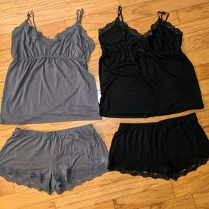 Old Navy pajamas shorts and tank set black & gray